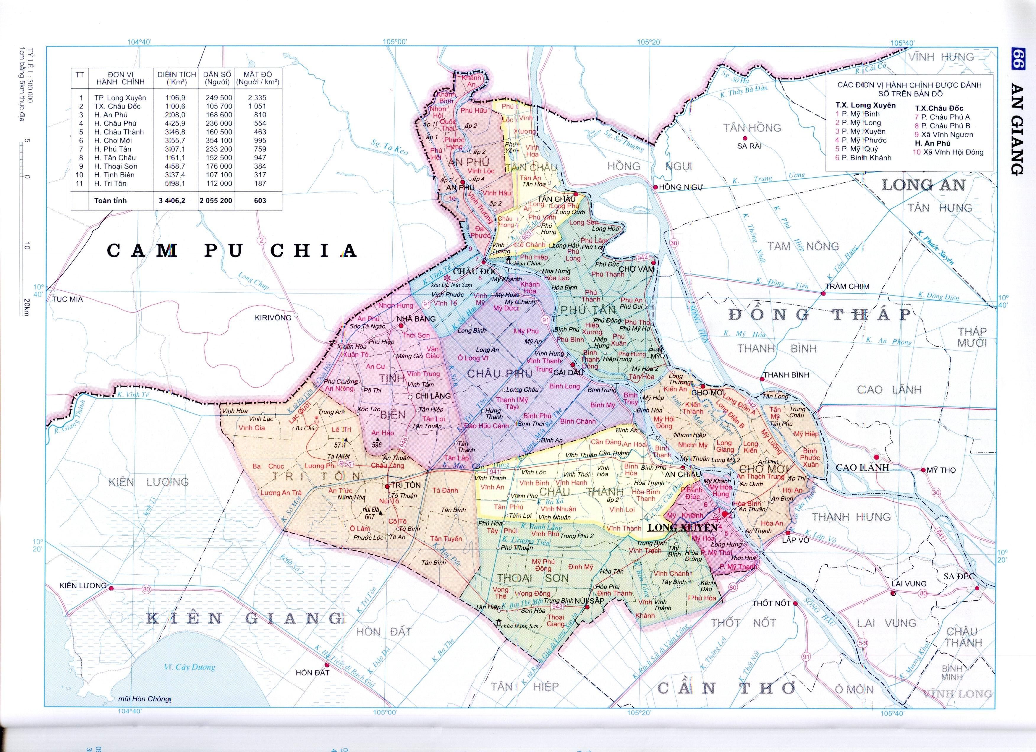 Bản đồ hành chính tỉnh An Giang miền Tây Nam Bộ