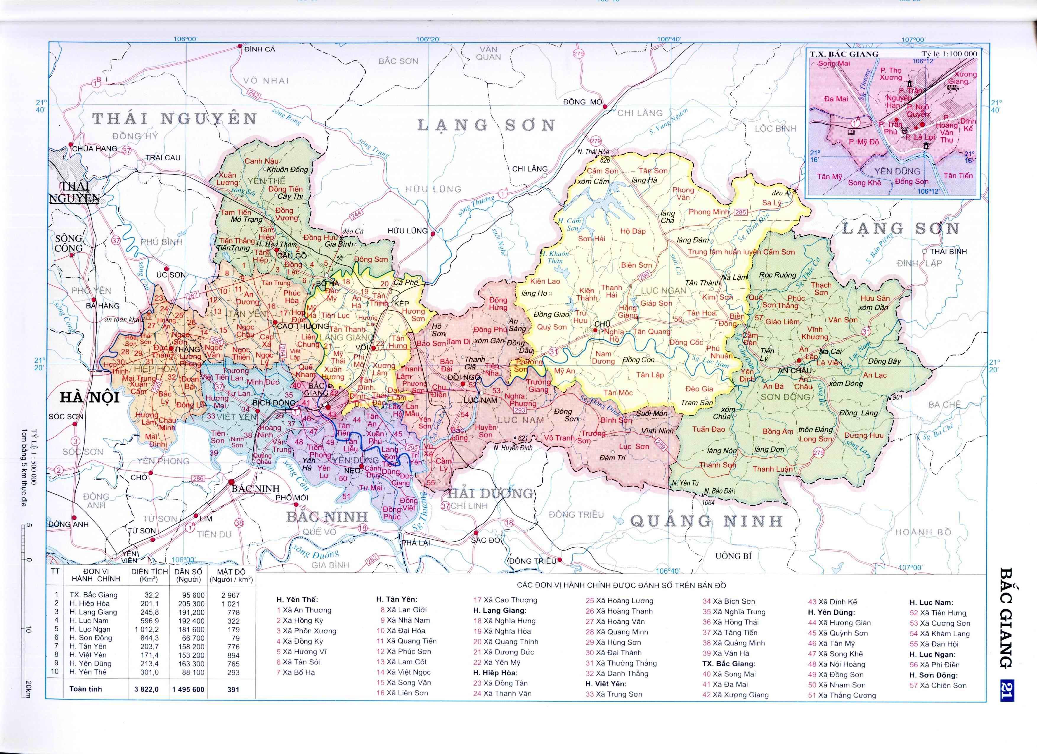 Bảng đồ hành chính tỉnh Bắc Giang
