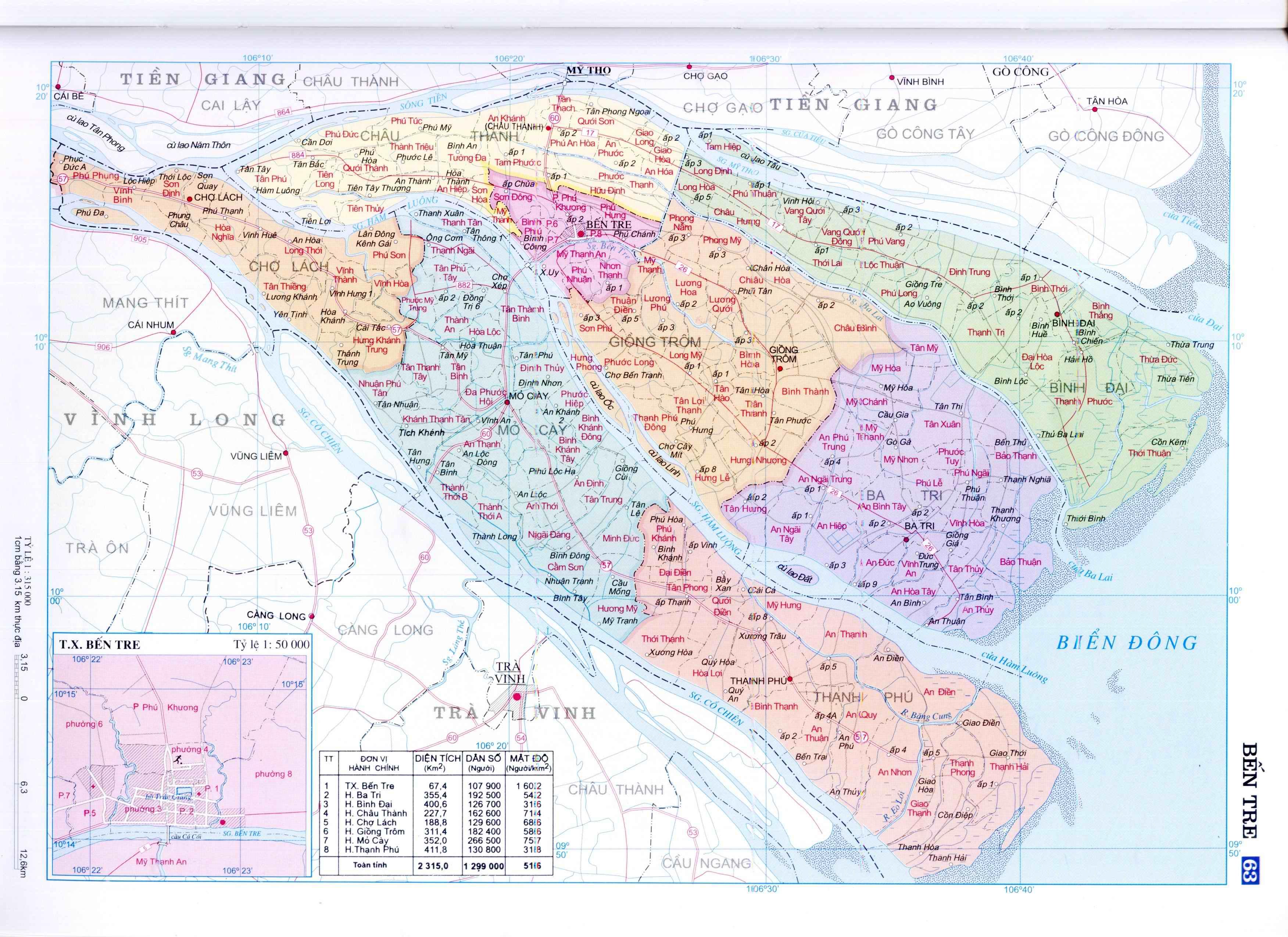 Bản đồ hành chính tỉnh Bến Tre miền Tây nam Bộ