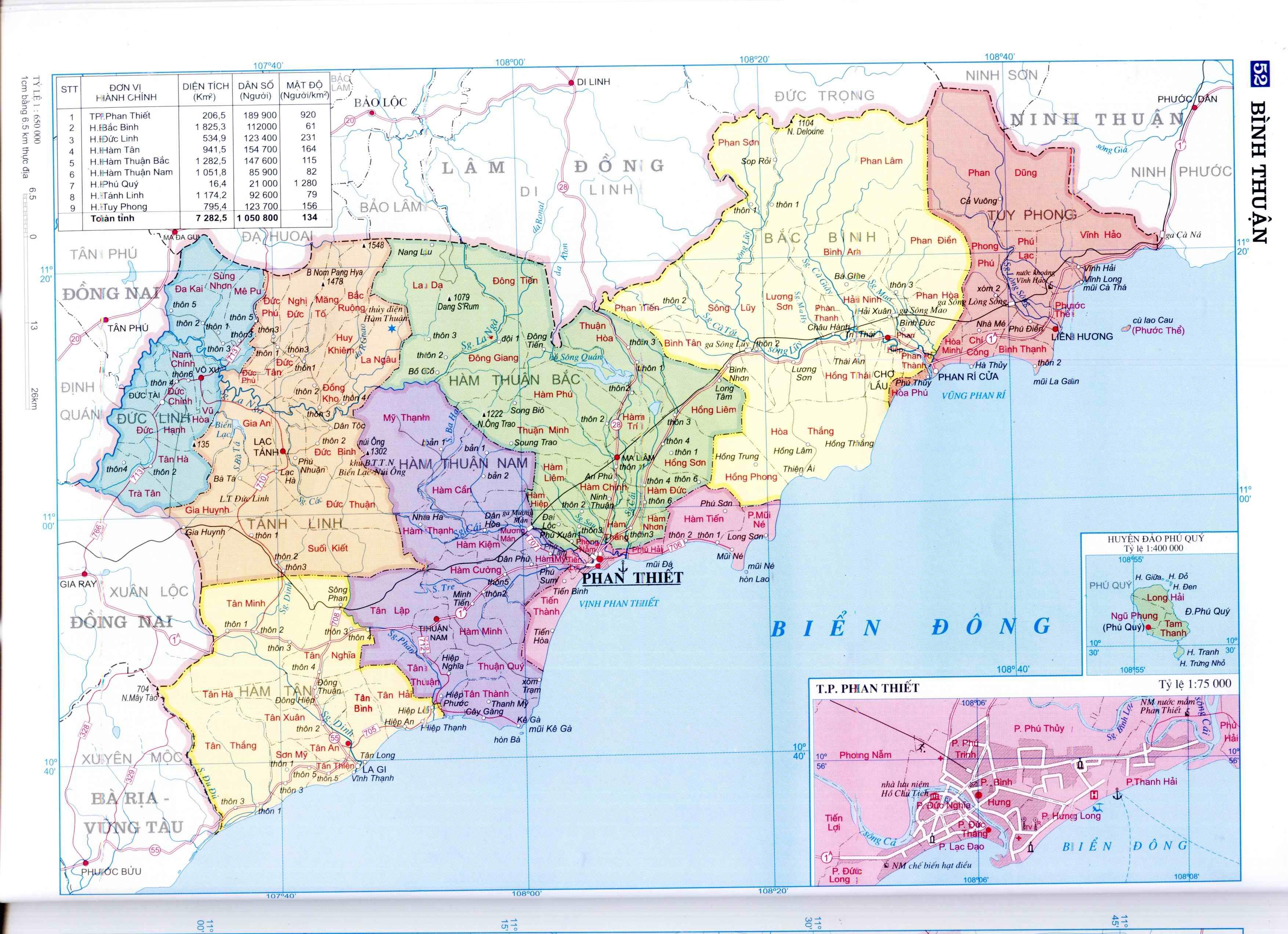 Bản đồ tỉnh Bình Thuận - Vị trí địa lý và các đơn vị hành chính