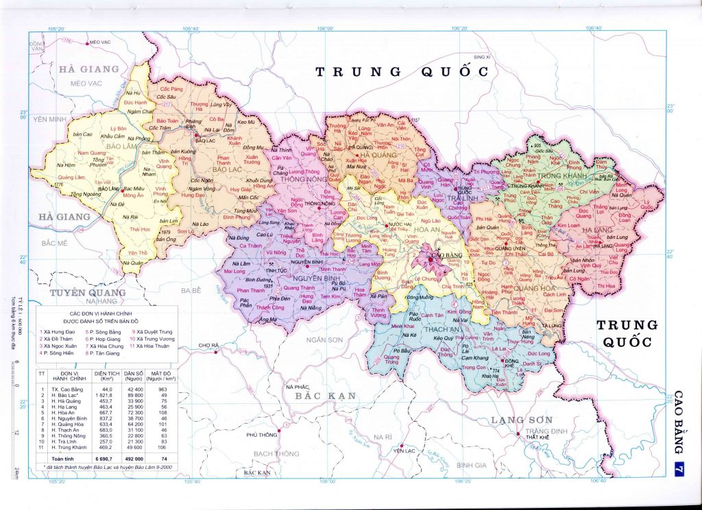 Bản đồ hành chính tỉnh Cao Bằng