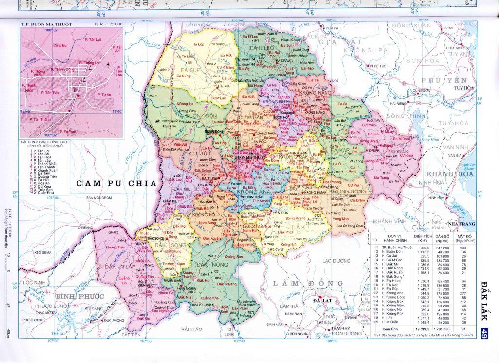 Bản đồ hành chính tỉnh Đắc Lắt