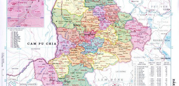 Bản đồ hành chính tỉnh Đắk Lắk