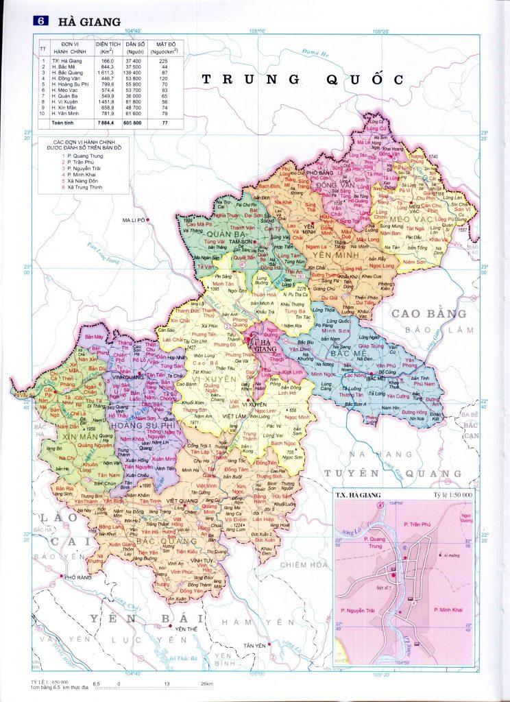 Bản đồ hành chính tỉnh Hà Giang