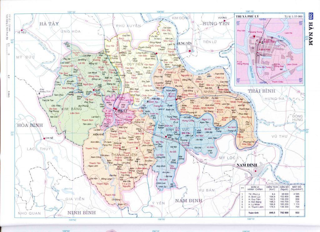 Bản đồ hành chính tỉnh Hà Nam