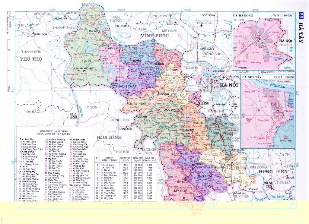 Bản đồ hành chính Hà Tây (cũ)