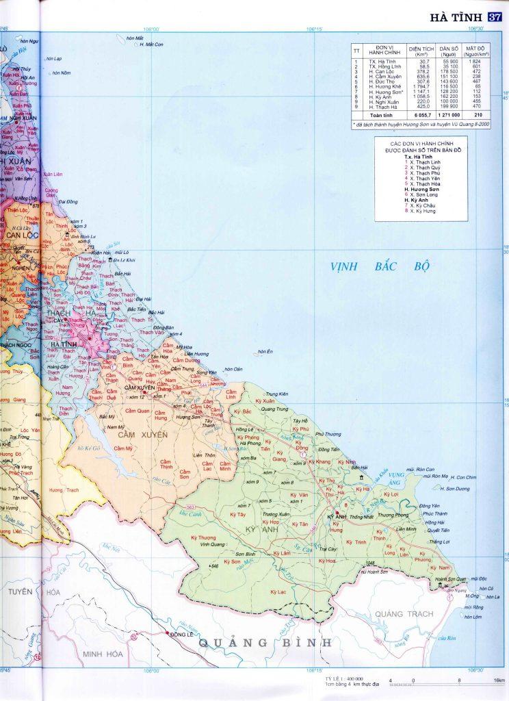 Bản đồ hành chính Hà Tĩnh - 2