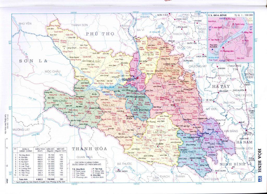 Bản đồ hành chính tỉnh Hòa Bình