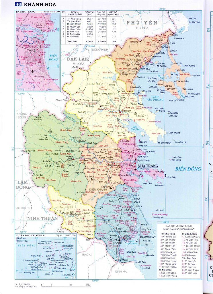 Bản đồ hành chính tỉnh Khánh Hòa