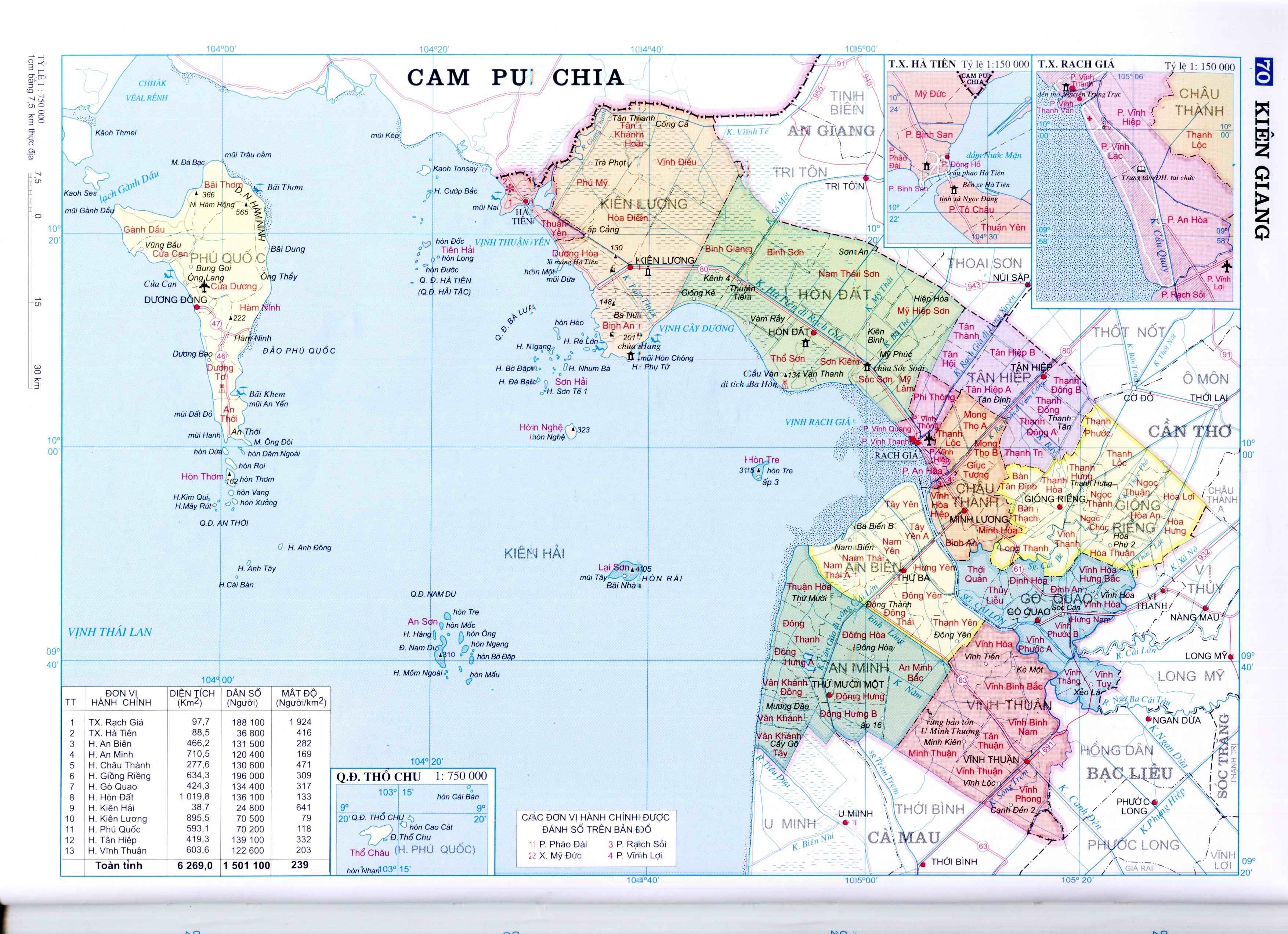 Bản đồ hành chính tỉnh Kiên Giang miền Tây Nam Bộ