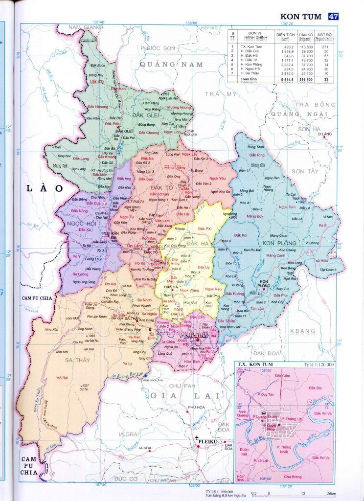 Bản đồ hành chính tỉnh Kon Tum