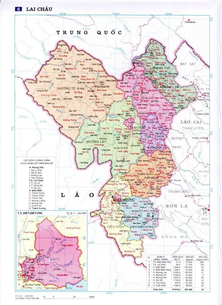 Bản đồ hành chính tỉnh Lai Châu
