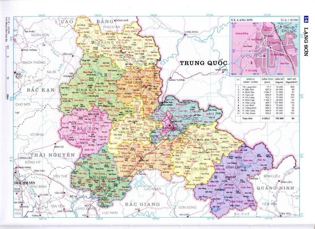 Bản đồ hành chính tỉnh Lạng Sơn