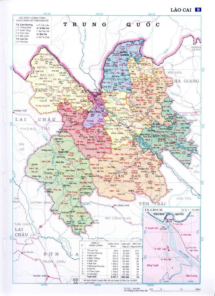 Bản đồ hành chính tỉnh Lào Cai