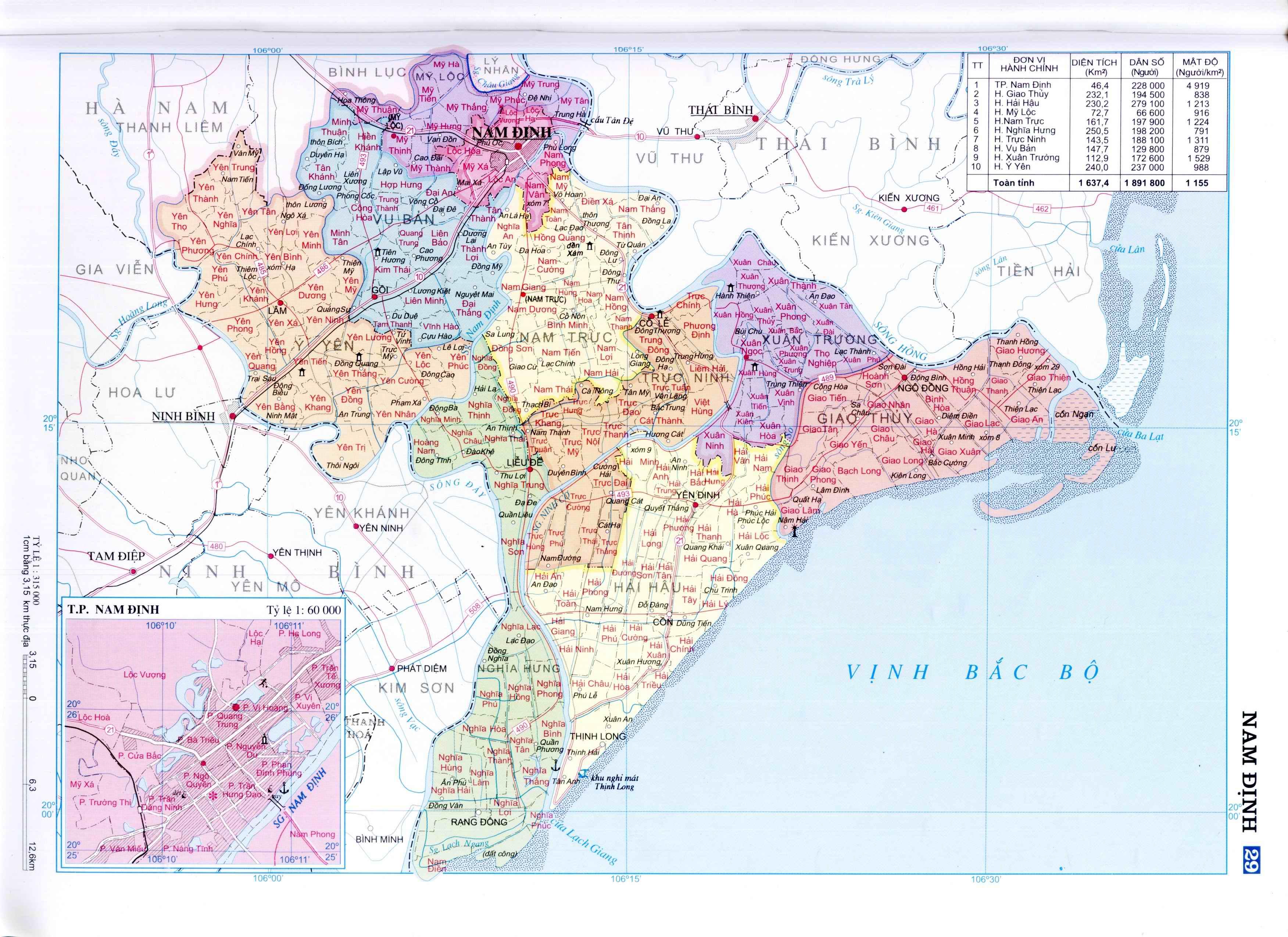 Bản đồ hành chính tỉnh Nam Định