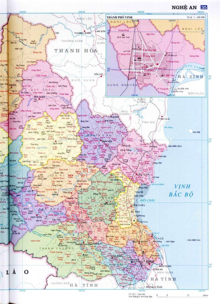 Bản đồ hành chính tỉnh Nghệ An