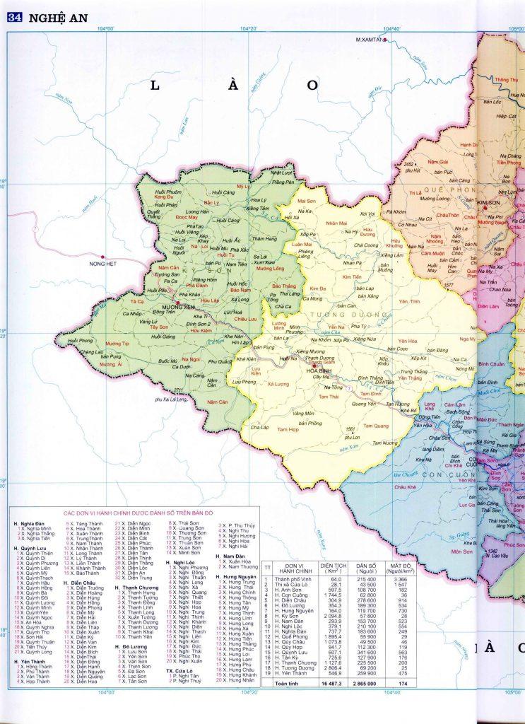 Bản đồ hành chính tỉnh Nghệ An 2