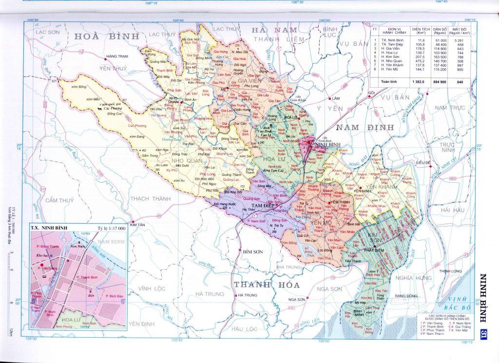 Bản đồ hành chính tỉnh Ninh Bình