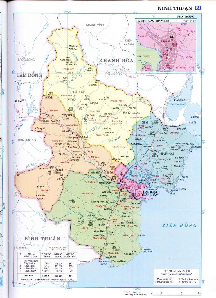 Bản đồ hành chính tỉnh Ninh Thuận