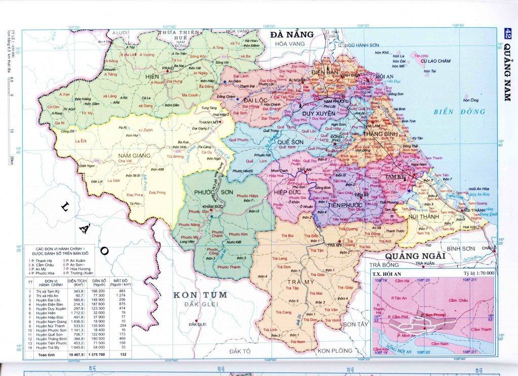 Bản đồ hành chính tỉnh Quảng Nam