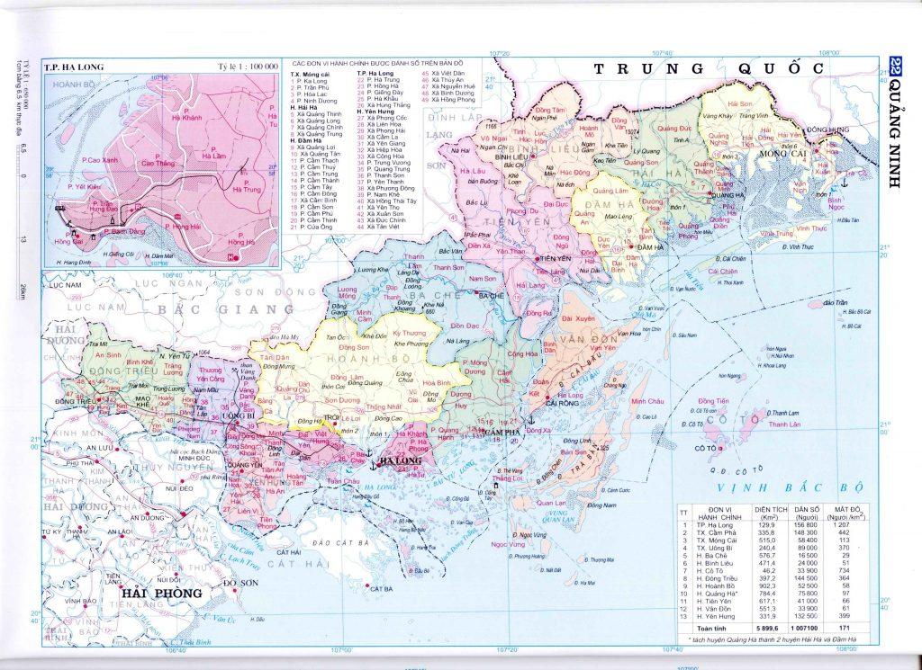 Bản đồ hành chính tỉnh Quảng Ninh