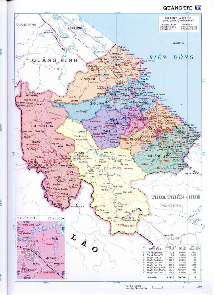 Bản đồ hành chính tỉnh Quảng Trị