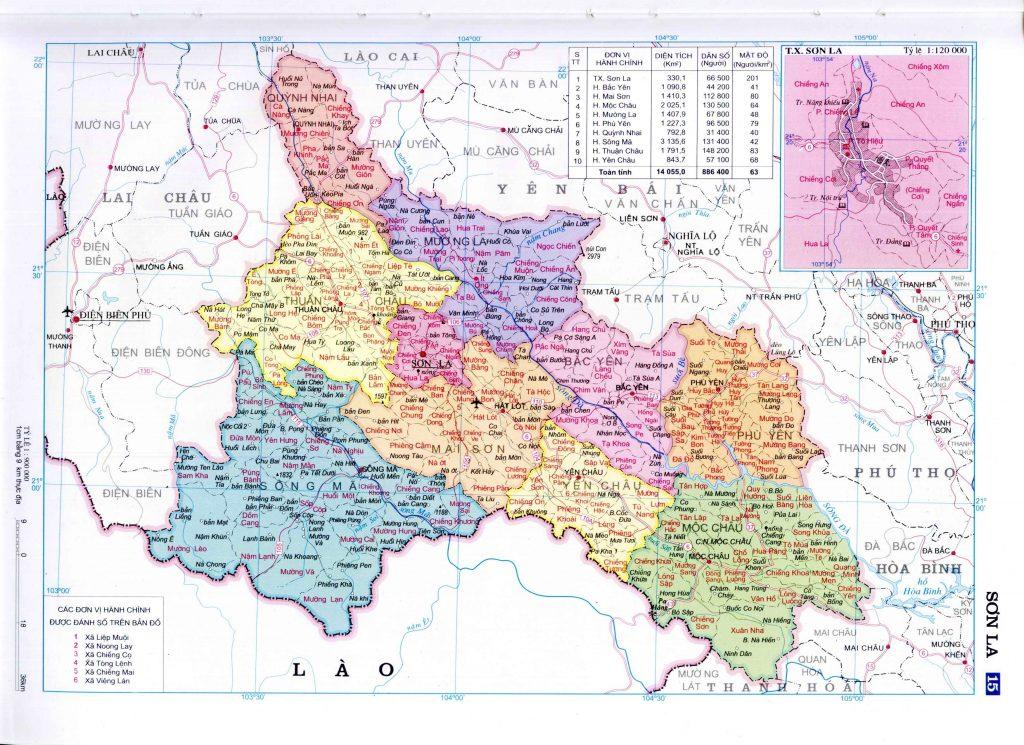 Bản đồ hành chính tỉnh Sơn La