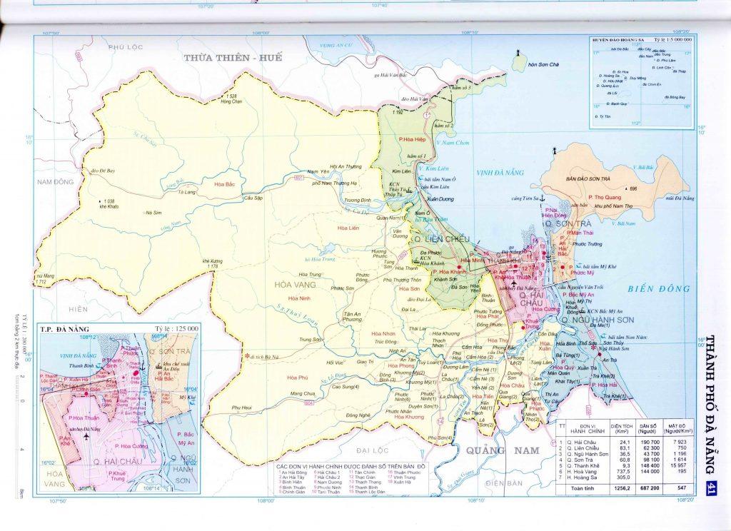 Bản đồ hành chính thành phố Đà Nẵng