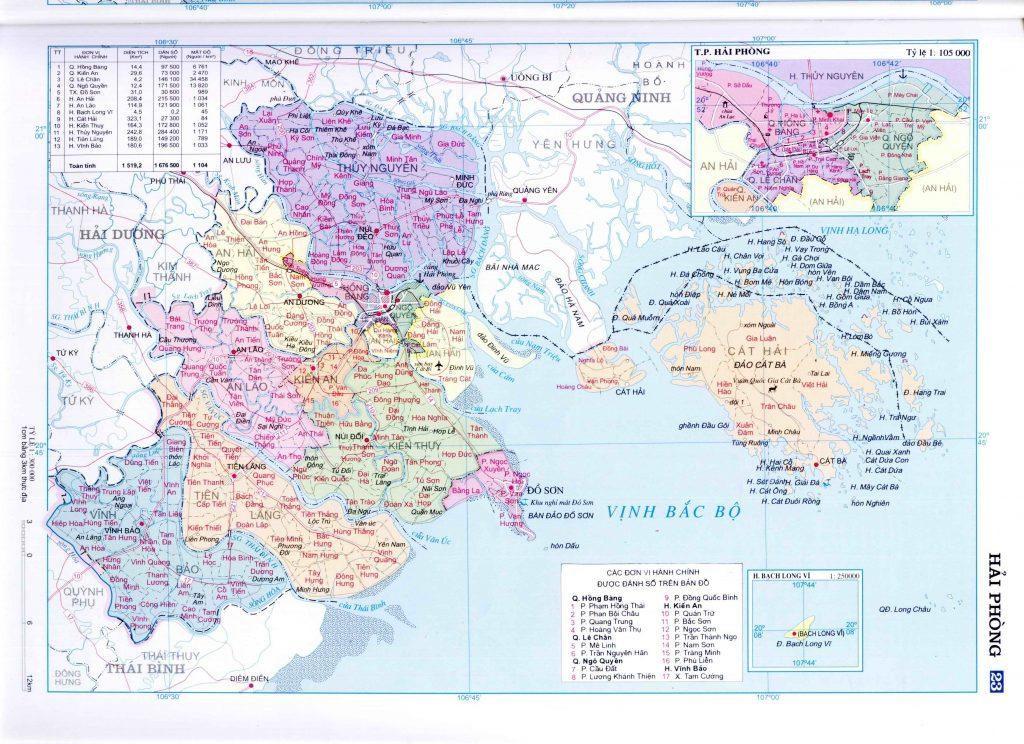 Bản đồ hành chính tỉnh Hải Phòng