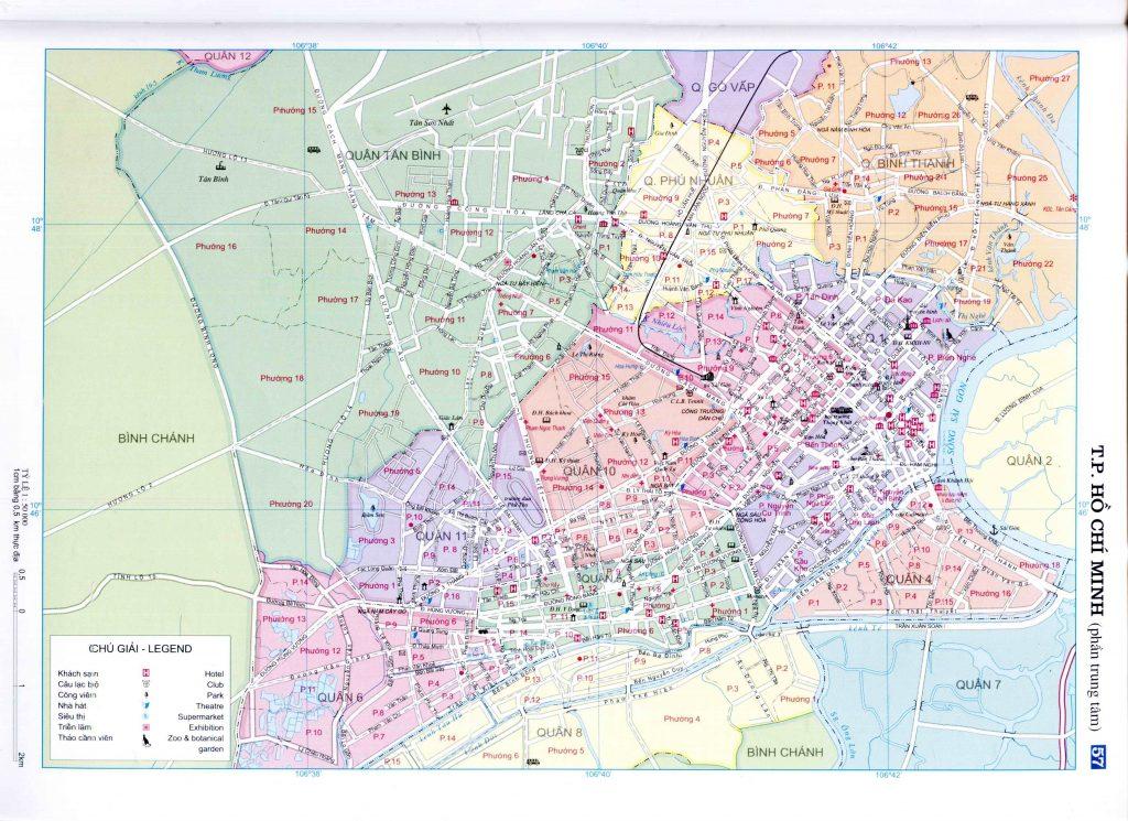 Bản đồ hành chính thành phố Hồ Chí Minh (nội thành)