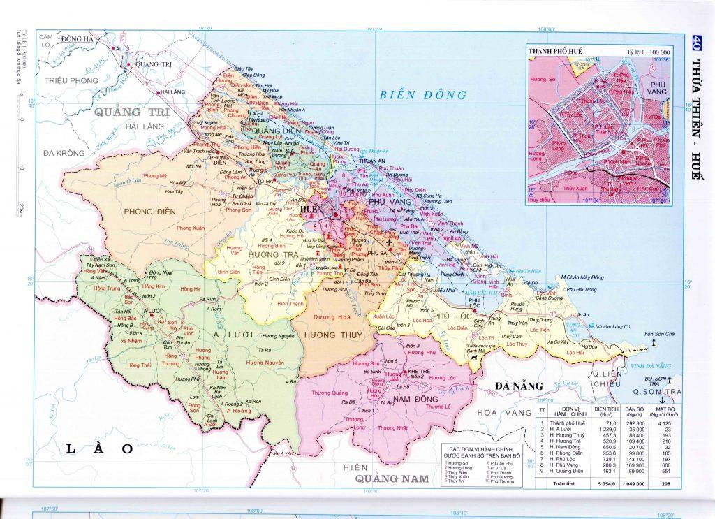 Bản đồ hành chính tỉnh Thừa Thiên Huế