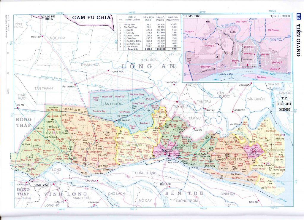 Bản đồ hành chính tỉnh Tiền Giang