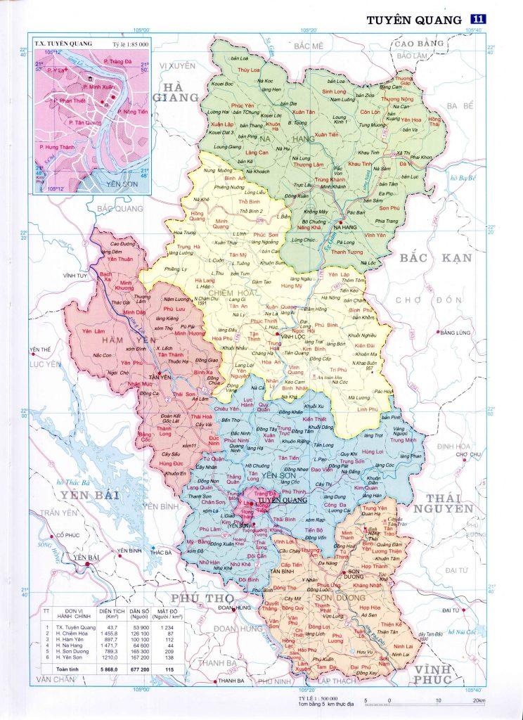 Bản đồ hành chính tỉnh Tuyên Quang