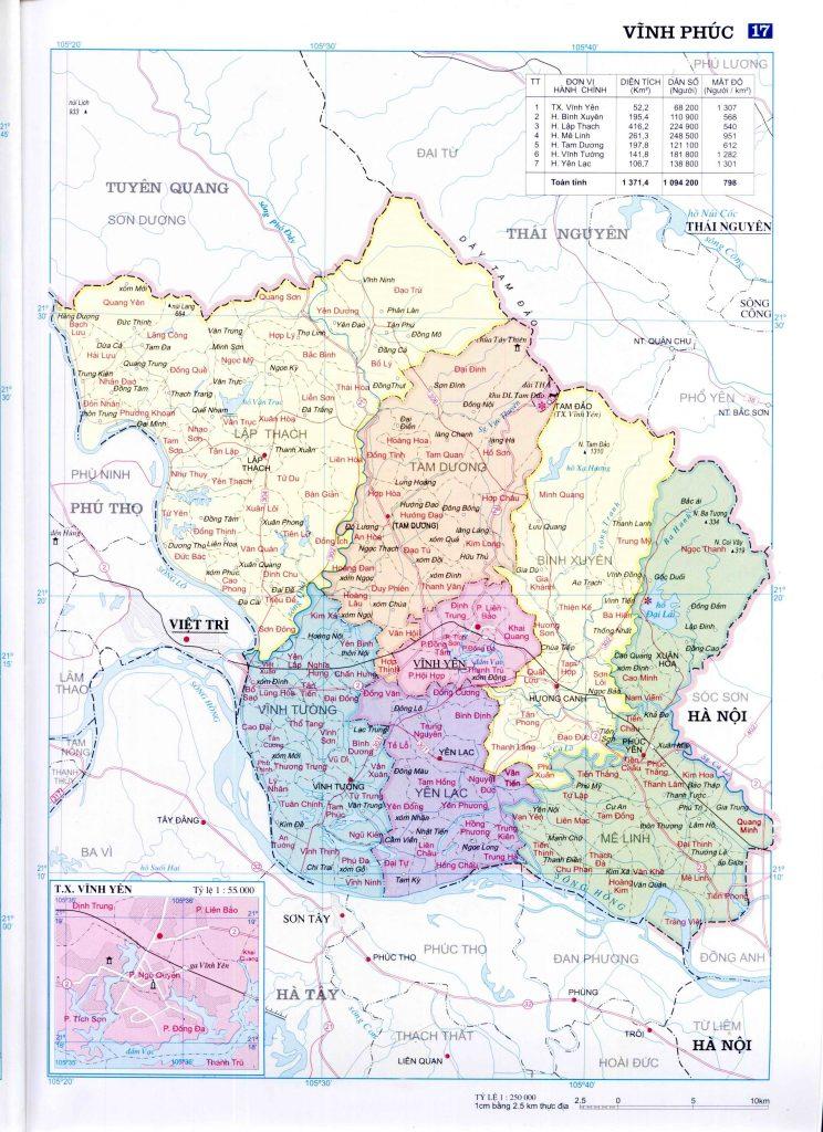 Bản đồ hành chính tỉnh Vĩnh Phúc