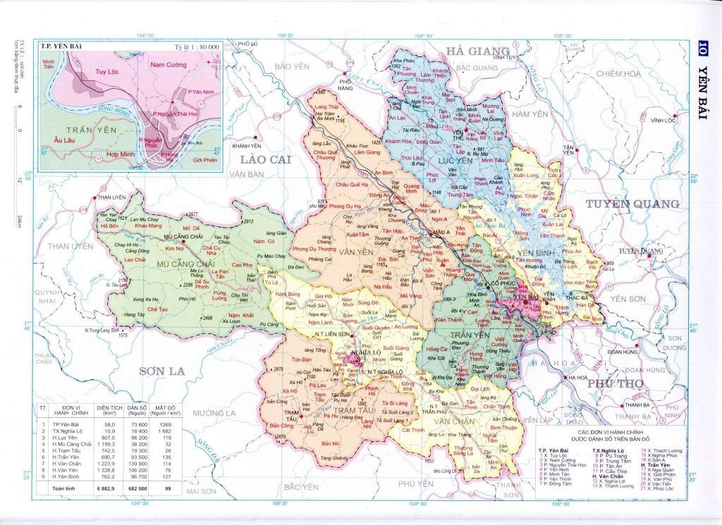 Bản đồ hành chính tỉnh Yên Bái
