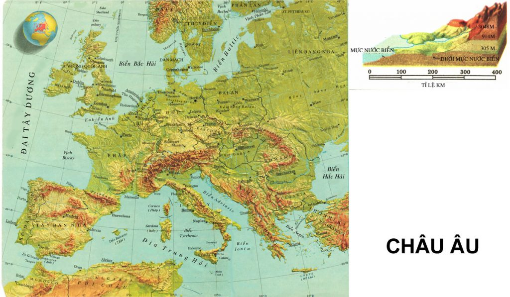 Đặc điểm địa hình tự nhiên của Châu Âu
