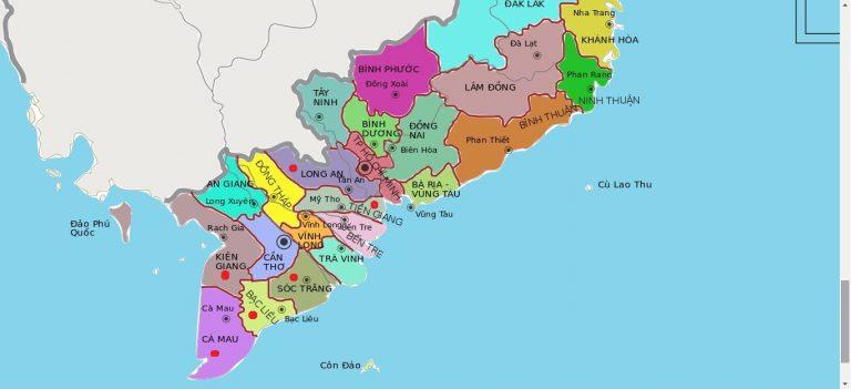 Bản đồ hành chính các tỉnh thành Tây Nam bộ