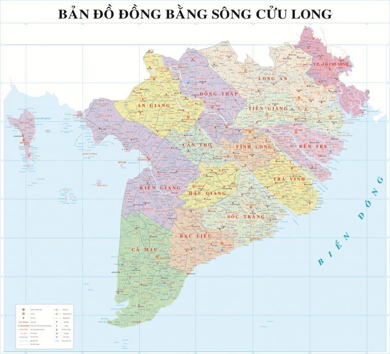 Vị trí Bản đồ đồng bằng sông Cửu Long (Tây Nam Bộ)
