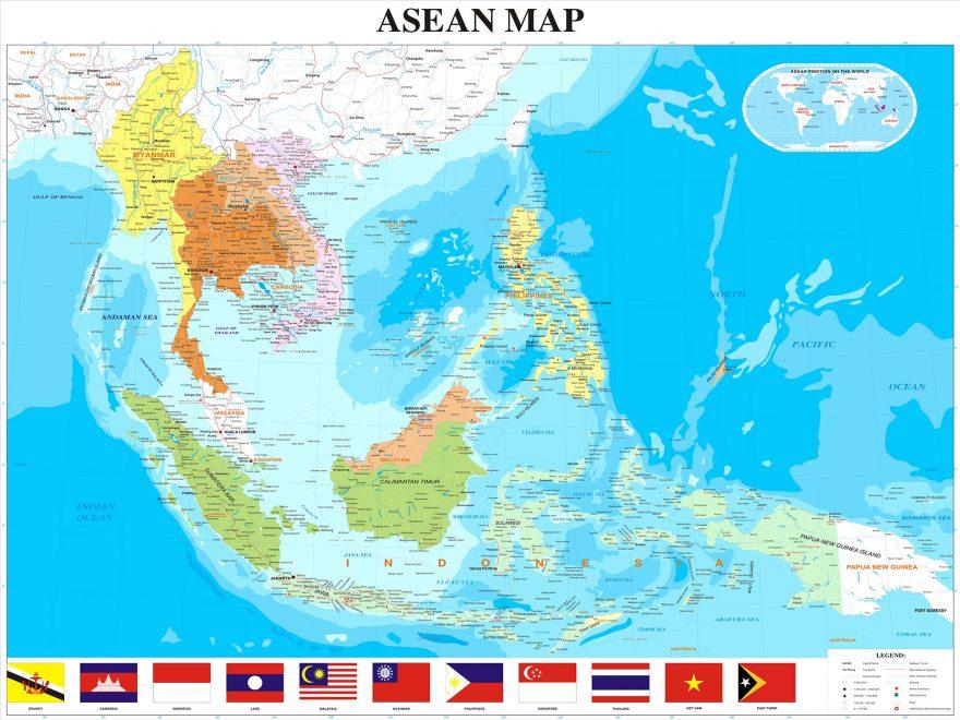 Vị trí Địa Lý các nước trên Bản Đồ Đông Nam Á