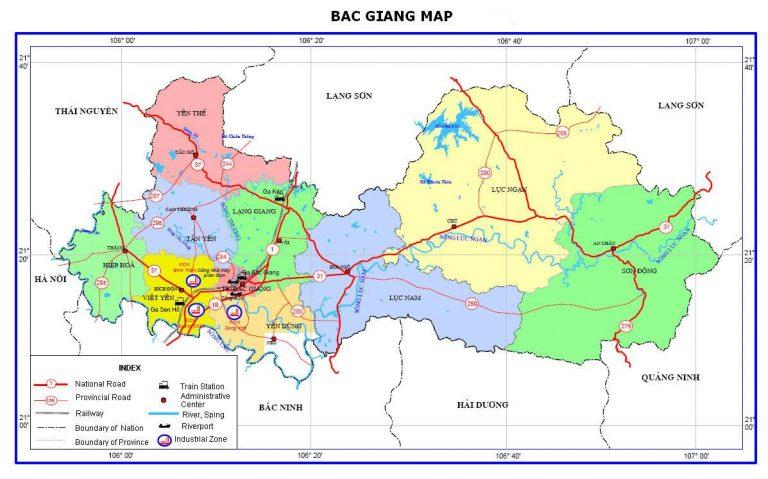 Bản đồ giao thông tỉnh Bắc Giang