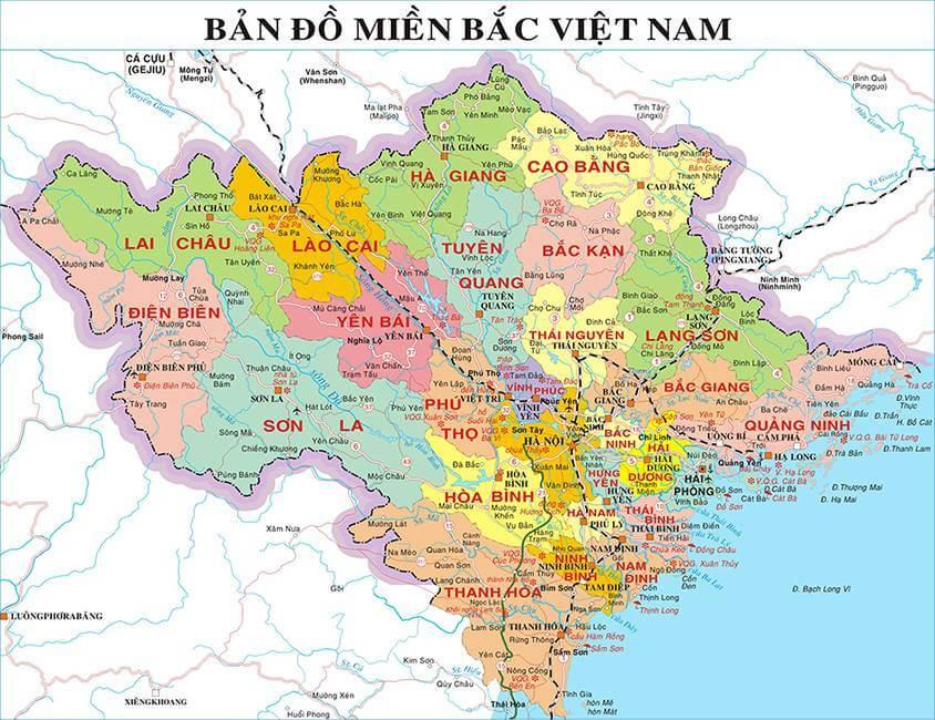 Bản đồ hành chính các tỉnh Bắc Bộ