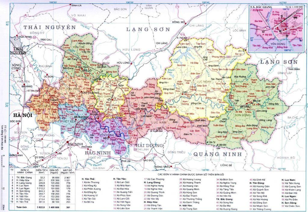 Bản đồ hành chính Bắc Giang