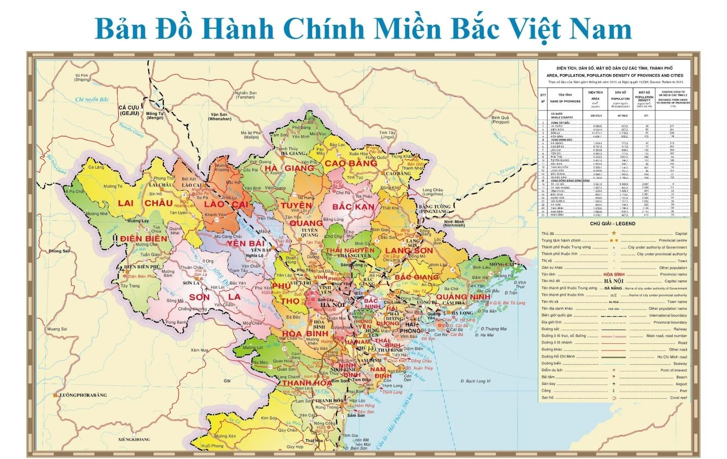 Bản đồ hành chính miền Bắc Việt Nam