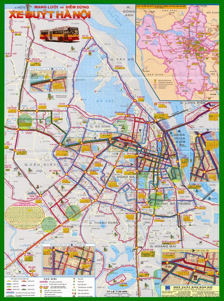 Bản đồ tuyến điểm xe buýt nội thành Hà Nội