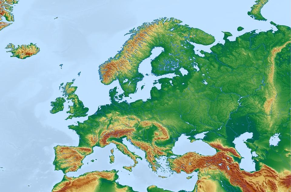 Bản đồ địa hình Châu Âu
