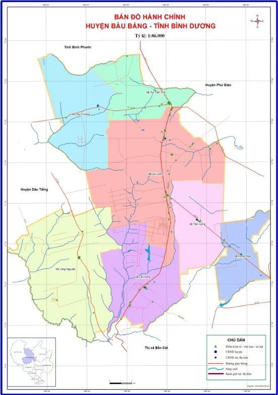 Bản đồ hành chính huyện Bàu Bàng tỉnh Bình Dương