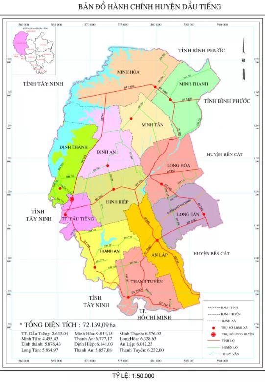 Bản đồ hành chính huyện Dầu Tiếng tỉnh Bình Dương