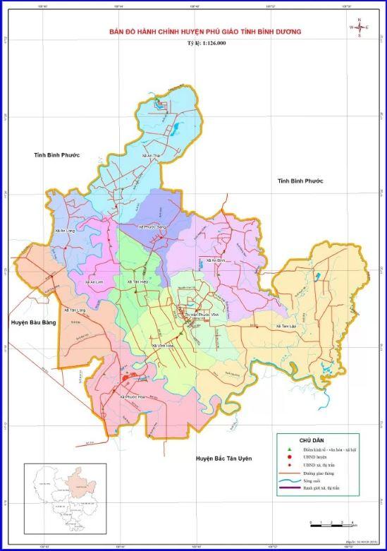 Bản đồ hành chính huyện Phú Giáo tỉnh Bình Dương