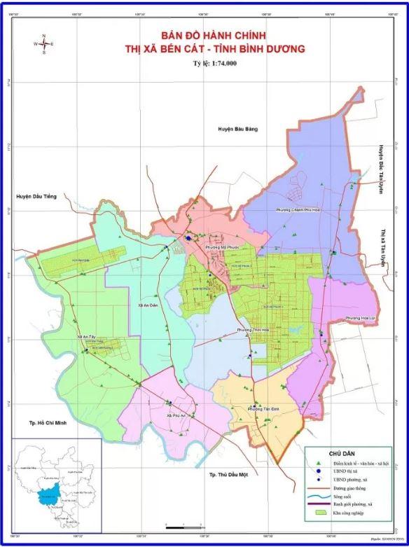 Bản đồ hành chính Thị xã Bến Cát tỉnh Bình Dương