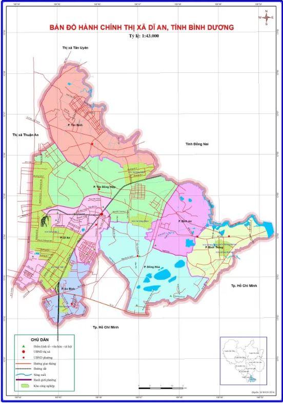 Bản đồ hành chính Thị xã Dĩ An tỉnh Bình Dương